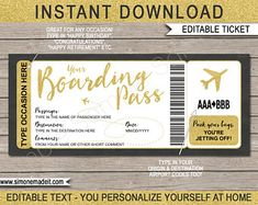 DIY Printable Editable Boarding Pass Surprise Fake Airline | Etsy Boarding Pass Template, Ticket Template, Destinations, Happy Retirement, Las Vegas Trip, Label Paper, Airline Tickets, New York Travel, Travel Gifts