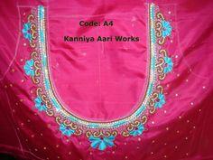 نتيجة بحث الصور عن hand embroidery designs for neck Aari Embroidery, Embroidery Neck Designs, Embroidery Works, Machine Embroidery, Sari Blouse Designs, Blouse Patterns, Pink Saree Blouse, Indian Designer Wear, Work Blouse