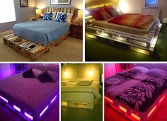 Install LED lights in a DIY pallet bed for a modern rustic bedroom.
