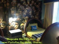 Despicable Me Kid Suites at Loews Portofino Bay Hotel - http://www.themagicforless.com/tmflblog/2013/12/minion-mayhem-kid-suites/  #UniversalOrlandoResort
