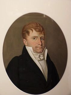 Beautiful portrait of a man. #Watercolor painting framed in a gilded wood molding. #Original gold leaf #gilding. Empire, circa #1820. For sale on Proantic by Le Grenier d'Augustine.