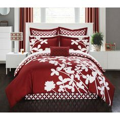 The Chic Home Casa Blanca Duvet Cover Set has a floral design that is reversible to an attractive diamond pattern. The floral pattern will make your bed feel like a real-life garden, and you can easily change it to contemporary diamonds design. King Duvet Cover Sets, Comforter Sets, Duvet Covers, King Comforter, Queen Duvet, Red Bedding Sets, Teen Bedding, Floral Comforter, Make Your Bed