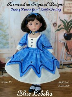 "Sewing Pattern for Dianna Effner's 13"" Little Darlings Blue Lobelia"