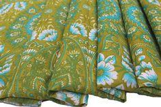 Floral Printed Silk Decorative Fabric Silk by Thepuranabazaar
