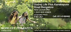 Godrej Life Plus Price starts at 36Lac for 1BHK apartments. It is developing at Eternity Kanakapura road bangalore over the large green land. These apartments configured with 1/2/3BHK residences of the salable size of 711 Sqft to 1938 Sqft.