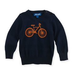 Bicycle Sweater with Elbow Patches - Navy by Andy & Evan