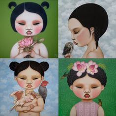 Paintings by Poh Ling Yeow, a Malaysian-born Australian artist, actress and runner-up in MasterChef Australia. Masterchef Australia, Australian Artists, Klimt, Painting Inspiration, Surrealism, Disney Characters, Fictional Characters, Artsy, Watercolor