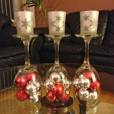 Christmas Decorating Ideas.  Upside down wine glasses.