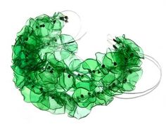 This exquisite necklace by Gulnur Ozdaglar, is made from discarded PET plastic water bottles.