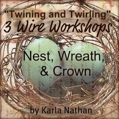 3 Wire Workshops Nest, Crown, and Wreath Cottage Christmas, Christmas Bulbs, White Christmas, Flowers For Valentines Day, Wire Wreath, Magnolia Pearl, Romantic Cottage, Online Tutorials, Bracelet Tutorial