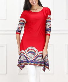 Love this Red & White Kaleidoscope Sidetail Dress - Women on #zulily! #zulilyfinds