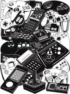 Vide game console controllers.  Nintendo, Sega, PlayStation, Microsoft, NES, SNES, N64, Dreamcast, Gamecube, Atari, Commodore, PS2, Genesis, Xbox, 360