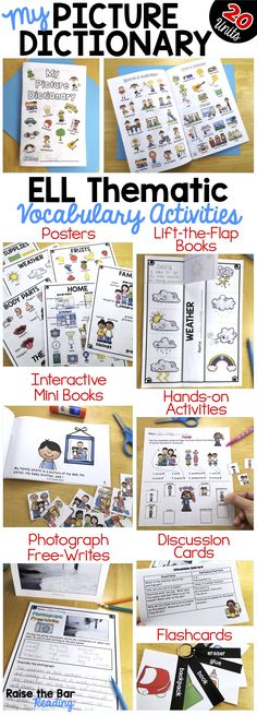 Huge Picture Dictionary Bundle! 800+ pages of activities for your newcomers and beginning ELLs, and any students in need of building basic vocabulary skills with visual supports. This ESL Picture Dictionary covers 20 thematic vocabulary units (body parts, family, food, etc.).