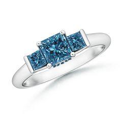 Angara Classic Three Stone Princess Moissanite Ring TJam2wvjj