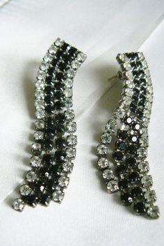 Vtg Silver Tone Black Glass Clear Crysta Rhinestone Dangling Evening Earrings | eBay