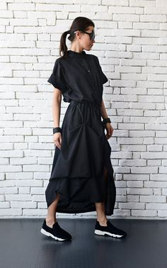 Long Black Linen Dress/Extravagant Short Sleeve by Metamorphoza