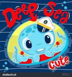 Funny cartoon squid wearing captain hat in submarine on lined background illustration vector. Hand Painting Art, Painting For Kids, Cute Octopus, Diamond Picture, Baby Posters, Step By Step Painting, 5d Diamond Painting, Paint Set, Amazon Art