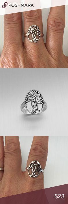 Sterling Silver Medium Tree of Life Ring Sterling Silver Medium Tree of Life Ring, Fortune Ring, Luck Ring, Yoga Ring, Pinky Ring, Index Ring, Thumb Ring, 925 Sterling Silver, Face Height 15 mm Jewelry Rings