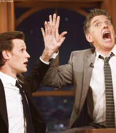 Freeze frame high five! Craig Ferguson and Matt Smith are awesome.