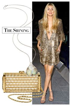 Harness the power of metallics and semi precious stones: A shimmering deep-V dress and a long pendant make beautiful alchemy. (A statement Chanel bag doesn't hurt either.) Chanel bag, price upon request, 800-550-0005; Venyx necklace, $19,800, venyxworld.com.