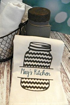 Personalized Mason Jar Flour Sack Towels {Jane Deals}