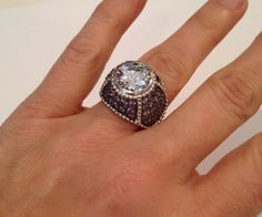 Vintage Sterling Silver Purple Sapphire  Two Tone Estate Jewelry Ring by WOWTHATSBEAUTIFUL