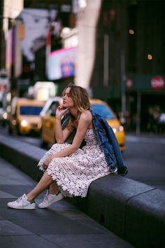 2 Ways To Style a Romantic Dress With Fresh White Sneakers