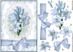Blue Lilly Decoupage on Craftsuprint designed by Rebecca Brindley - These Gorgeous Pale Blue Lillies are great for any special occasion.This is one of many sheets using this design, others include Pyramid, A4, Toppers, Insert, Gatefold Insert and two co-ordinating Backing Papers. If you would like any of these other options please click on my name (above) and type 'Blue Lilly' in the searchbox. - Now available for download!