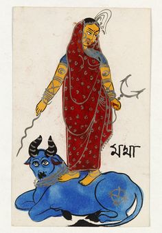 Magha. Painting, in watercolour and tin alloy on cardboard, a woman standing on a bull, holding a thunder-bolt and lightning shaft, representing Magha, the 10th lunar mansion.  Place of origin: Calcutta, India (made)  Date: ca. 1890 (made)  Artist/Maker: Unknown (production) Museum number: IS.108-1959