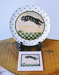 Lowell Herrero Cat Plate And Wall Hanging Trivet by Collectitorium Vintage Plates, Fine Dining, Gifts For Mom, Coasters, Decorative Plates, My Etsy Shop, Framed Prints, Hand Painted, Cats