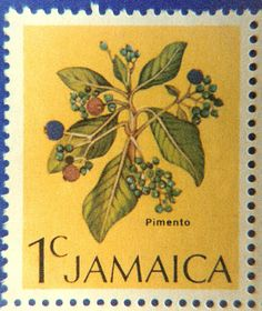 Jamaican stamp with pimento berries Commonwealth, Night Clouds, Postage Stamp Art, First Day Covers, Small Art, Stamp Collecting, Botanical Illustration, Flora, Flower Stamp