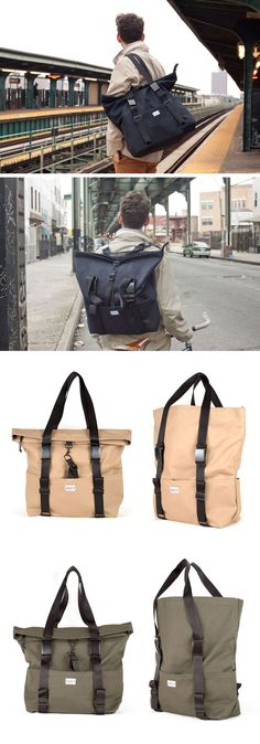 SSCY introduces their new colors for the Tack bag (tote/backpack hybrid) - Rockaway Beach Khaki & Fort Olive Greene. Made in Brooklyn, New York, USA $195.
