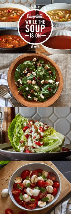 As the soup heats up, make yourself a salad. Whether it's a Baby Spinach, Wedge or Caprese Salad, after the traffic, the parking spot a mile away from work and meetings it's nice to see a little green. Campbell's. Made for real, real life®.