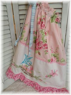 Shabby Chic ~ Adorable Laundry Bag ~ easy to make with vintage crochet lace, old embroidered lines and chic fabric!