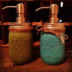 Sage and Indian Turquoise Rustic Mason Jar Soap Dispensers- TWO Pint Set- Pick any color. $34.99, via Etsy.