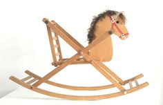 English Mid Century all in wood Horse Rocking by GuidouxVintage, £110.00