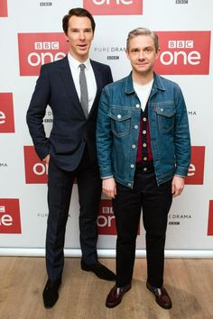 Sherlock fans may have to wait until the New Year to see Benedict Cumberbatch and Martin Freeman reunited on screen – but they were given a glimpse of the actors back together at a special screening. The actors – who play Sherlock and Doctor John Watson respectively – fooled around at a photocall at London's Ham Yard Hotel on Monday evening.
