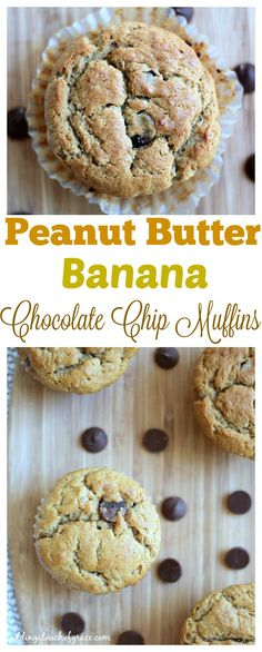 These simple and healthy peanut butter banana chocolate chip muffins ...