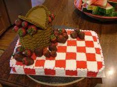 Picnic Themed Bridal Shower Cake - use fondant (2 colors woven together)...  mini picnic foods...