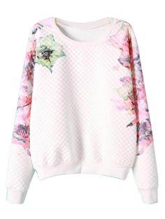 White Floral Embossed Long Sleeve Sweatshirt
