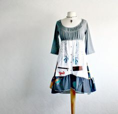 Gray Upcycled Dress Boho Chic