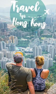 Hong Kong Travel Tips Pin with a view from Lion's rock Peak in Hong Kong