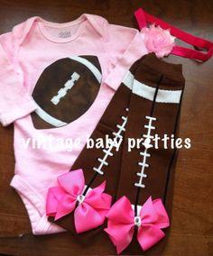 Baby, Infant, Toddler Girl Football Onesie, Matching Football Leg Warmers, and Pink Shabby Headband Set
