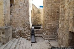 """*JERUSALEM ~ Herodian steps leading down into Kishle. (""""Kishle"""" is the term used by the Turkish Ottomans to refer to soldiers' barracks. Israel History, Ancient History, Jesus History, Archaeological Discoveries, Archaeological Finds, Israel Travel, Israel Trip, Site Archéologique, Jerusalem Israel"""