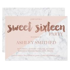 #Rose gold typography pink color marble Sweet 16 Card - #sweet16 #invitations #sixteen #birthday #sweetsixteen #party #bday #birthdayparty