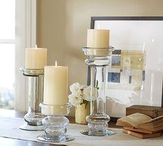 Branson Glass Pillar Candle Candleholder #potterybarn