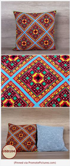 Geometrical cross stitch needlepoint pillow, colorful embroidery cool boho style cushion cover 16 x 16 inch (39 x 39 cm) bright accent case https://www.etsy.com/listing/271601613/geometrical-cross-stitch-needlepoint?ref=shop_home_active_79  (Pinned using https://PromotePictures.com)