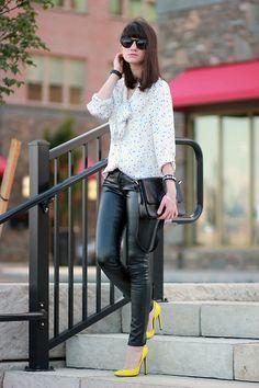 C.Wonder Silk Blouse, Gucci Pumps, Leather Pants