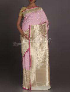 Ditya Baby Pink Blush Veru Broad Ornate Border #RealZari #BanarasiBrocadeSilkSaree