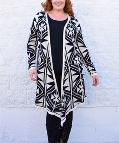 Look what I found on #zulily! Beige & Black Tribal Open Cardigan - Plus by Simply Couture #zulilyfinds